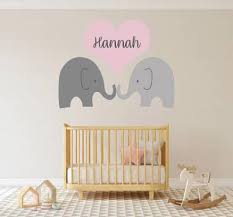 Custom Name Elephants Love Wall Decal Egraphicstore