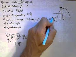 for a quadratic function find vertex