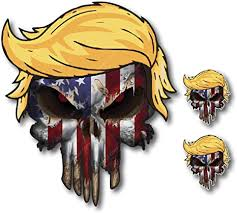 Amazon Com Pack Of 3 Skull American Flag With Donald Trump Hair Vinyl Decal Stickers Car Truck Sniper Marines Army Navy Military Graphic Arts Crafts Sewing