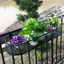Wrought Iron Railing Fence Flower Pots Hanging Oval Frame Balcony Fleshy Succulent Potted Planters Spider Fram Railing Planters Balcony Plants Balcony Planters