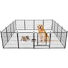 Amazon Com Yaheetech 24 Inch Tall Heavy Duty Metal Pet Dog Puppy Cat Exercise Fence Barrier Playpen Kennel 16 Panels Pet Supplies