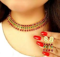 red ruby gold plated necklace jewelry