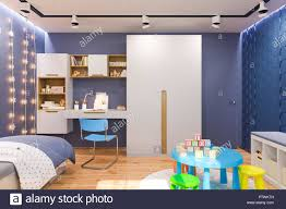 3d Illustration Of The Kids Bedroom In Deep Blue Color Visualization Of The Concept Of Interior Design Child Room For Boy In A Space Theme Stock Photo Alamy
