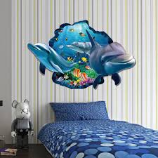 Dolphin 3d Decal Wall Stickers Ocean Fish Wallpaper Mural Art Poster For Room