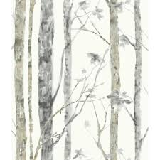Roommates Birch Trees Vinyl Peelable Roll Wallpaper Covers 28 18 Sq Ft Rmk9047wp The Home Depot