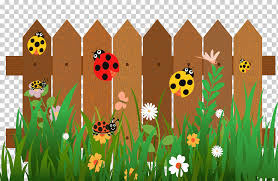 Brown Wooden Fence Fence Cartoon Ladybird The Seven Star Ladybug On The Fence Stars Insects Grass Png Klipartz