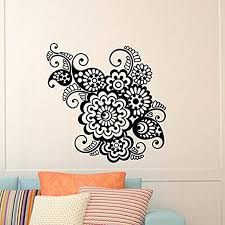 Amazon Com Wall Decal Vinyl Sticker Indian Pattern Yoga Flower Indie Mandala Wall Decals Murals Bedroom Dorm Yoga Studio Om Wall Art Home Decor Ng143 Home Kitchen