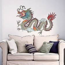 Dragon Wall Decals Full Color Decal Colorful Sticker Chinese Home Art Decor Dd31 Ebay