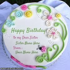 birthday cake for sister written image