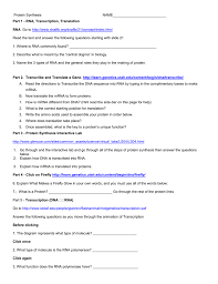 protein synthesis web quest for 2