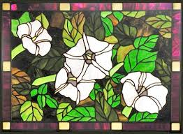 belladonna flowers stained glass window