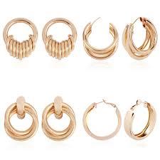 Solememo New Design Gold Color Round Hoop Earrings For Women Metal  Geometric Big Circle Earrings Jewelry Bijoux Gifts Hot E4390|Hoop Earrings|  - AliExpress