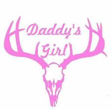 Deer Antler Skull Window Decal Truck Car Daddy S Girl Hunt White Or Pink Vinyl Ebay