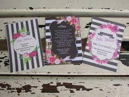 Tarjetas Invitaciones Boda 15 Flores Y Rayas Blanco Negro 50