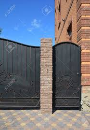 Close Up On Installation Of Entrance Metal Fence Door And Gate Stock Photo Picture And Royalty Free Image Image 120927398