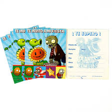 46 Invitaciones Zombies Vs Plantas Babyshower