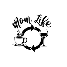 Mom Life Decal Coffee Wine Repeat Car Decal Wall Decor Etsy