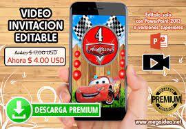 Video Invitacion Cumpleanos Cars Editable Mega Idea