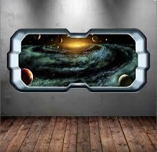 Amazon Com Space Rocket Window Planet Wall Art Sticker Decal Transfer Wall Stickers Boys Bedroom Wsd262 Baby