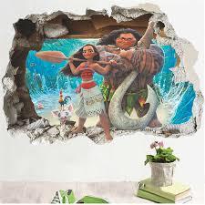 Moana Maui Wall Stickers For Kids Room Home Decoration 3d Broken Hole Vaiana Mural Art Cartoon Ocean Mythology Movie Wall Decals Wall Stickers Aliexpress
