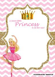 Free Princess Barbie Baby Shower Invitations Templates Bagvania