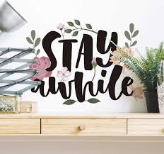 Stay A While Plant Wall Sticker Tenstickers