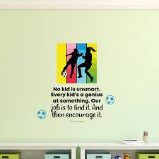 Zoomie Kids Encourage It Soccer Girl Life Cartoon Quotes Decors Wall Sticker Art Design Decal For Girls Boys Kids Room Home Decor Wall Art Vinyl 10x10 Inch Wayfair