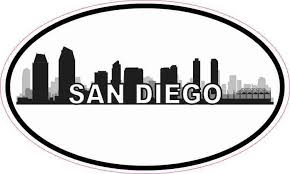 5inx3in Oval San Diego Skyline Sticker Luggage Cup Car Bumper Window Decal Stickertalk