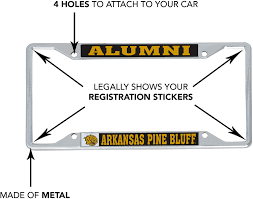 Alumni Desert Cactus University Of Arkansas At Pine Bluff Uapb Golden Lions Ncaa Metal License Plate Frame For Front Back Of Car Officially Licensed Exterior Accessories Frames
