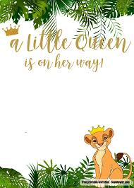Free Printable Lion King Baby Shower Invitations Templates