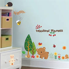 Woodland Animals Wall Stickers Kids Room Home Decorations 3d Cartoon Bear Butterfly Mural Art Zoo Children Home Decals Posters Wall Stickers Aliexpress