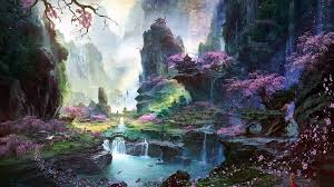 paintings landscapes spring oriental