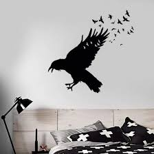 Vinyl Wall Decal Black Raven Flock Of Birds Wall Sticker Gothic Style Home Decor Birds Animal Vinyl Wall Sticker Decor 3407 Wall Stickers Aliexpress