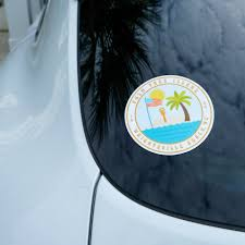 Palm Tree Island Car Bumper Sticker Nicole Goldfarb