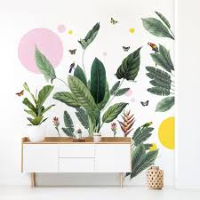 Tropical Jungle Set With Shapes Watercolour Wall Decals Etsy