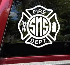 Fire Department Monogram Vinyl Decal Maltese Cross Personalized Die Cut Sticker