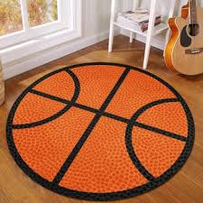 Cartoon Basket Football Round Carpet For Kids Room Boys Bedroom Area Rug Computer Chair Mat Anti Slip Children Crawling Play Mat Talorithisoth