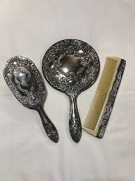 vintage silver plate hand mirror brush