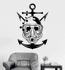 Vinyl Wall Decal Skull Diver Marine Nautical Art Scuba Stickers Unique Wallstickers4you