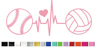 Heartbeat Softball Volleyball With Heart Decal Sticker Vinyl Graphic Decal By Shop Vinyl Design Shop Vinyl Design