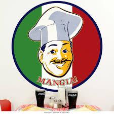 Mangia Italian Chef Eat Flag Wall Decal Kitchen Decor At Retro Planet