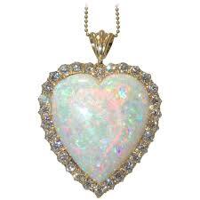carat opal diamond gold heart pendant
