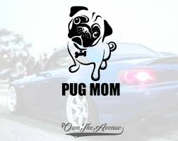 Pug Mom Decal Sticker Car Window Bumper Wall I Love My Rescue Dog 3 5 X 5 5 For Sale Online