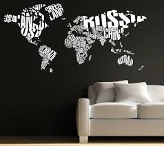 Typography World Map Wall Decal Gadget Flow