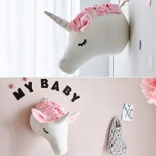 Kids Room Plush Toys 3d Animal Heads Decoration Elephant Deer Unicorn Wall Hanging Decor For Baby Girls Nursery Room Decoration Kid Gift Mall