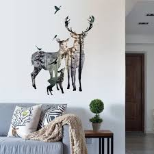 Vintage Forest Deer Flying Birds Wall Stickers For Living Room Restaurant Office Decor Wall Decals Art Mural Poster Bird Wall Sticker Wall Stickerstickers For Aliexpress