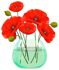 Red Poppies Flowers In Glass Vase Wall Decal Pixers We Live To Change