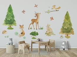 Woodland Nursery Decal Forest Nursery Decal Woodland Wall Sticker Wood Kidscutedecorations