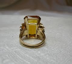 citrine diamond ring 14 karat rose gold