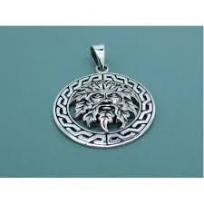 925 sterling silver green man pendant